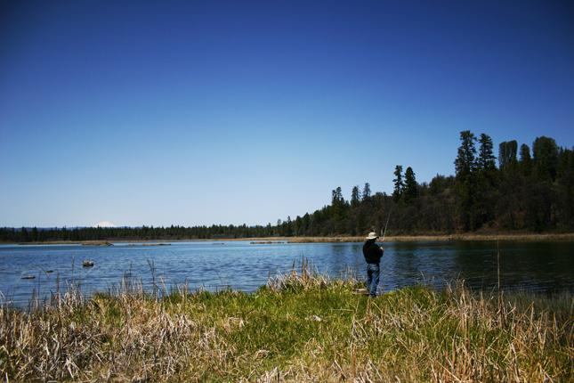 Fishing at Baum Lake, Cassel Campground