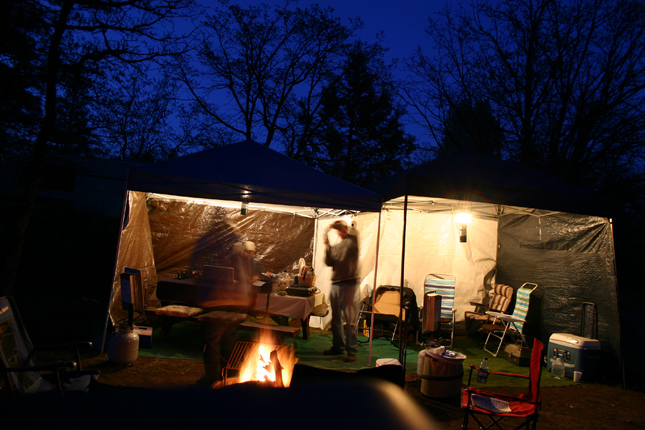 Night time back at the campsite in Cassel Campground