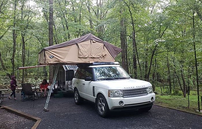 range rover with cct roof top tent