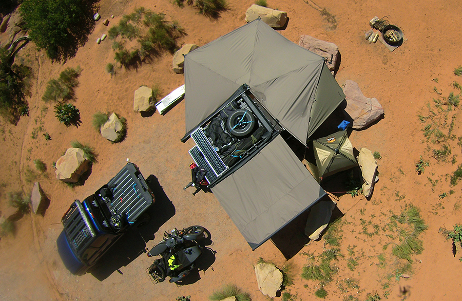 TC teardrop with batwing awning overhead photo