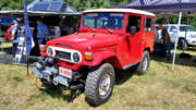 red 1978 toyota fj40 with cummins 2.8r turbo diesel engine