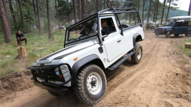 1989 land rover defender 110 truck at northwest overland rally on technical course
