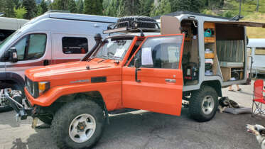toyota hj75 land cruiser ute with camper