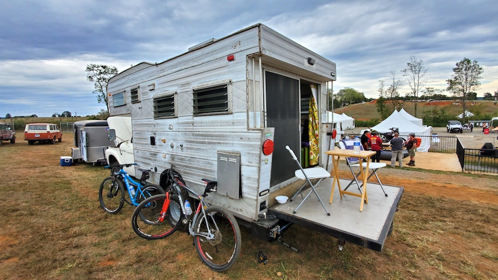 open road camper rear folding porch