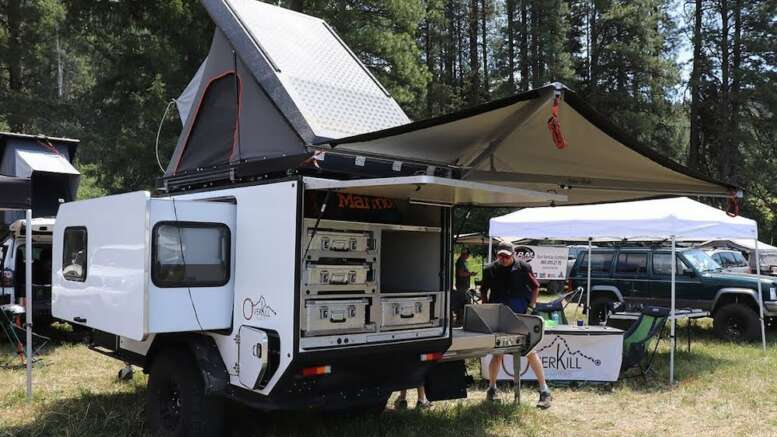 overkill campers 5x10 teardrop with slide out side and axle less suspension