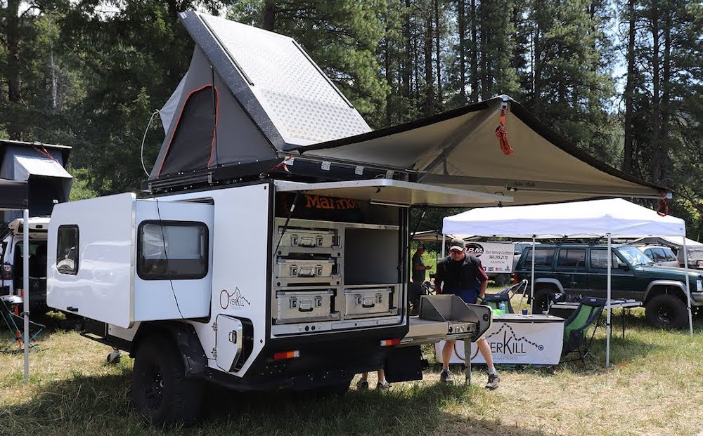 overkill campers 5x10 with slide out side and axle less suspension