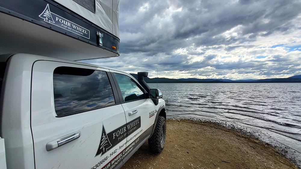 truck camper view west across high sierra lake
